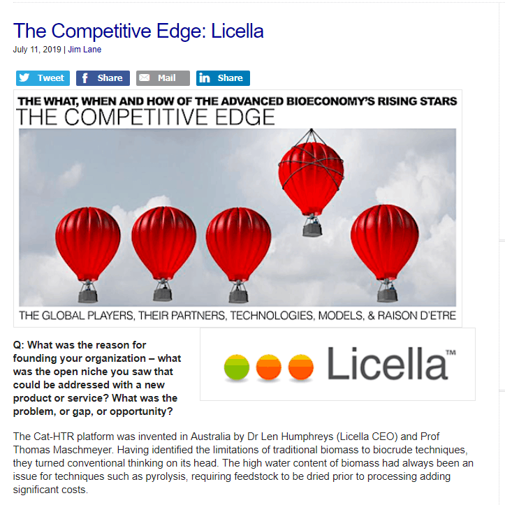 Biofuels Digest – The Competitive Edge: Licella