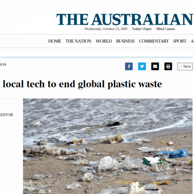 The Australian: PM backs local tech to end global plastic waste